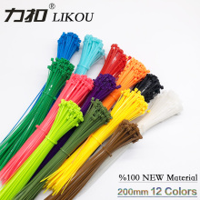 12 Colors LIKOU Self-locking Nylon Cable Ties 3x200mm7.8inch High Quality zip ties 100PCS Plastic wire binding wrap straps