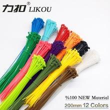 Самоклеящиеся нейлоновые кабельные стяжки likou 3x200 мм цветные