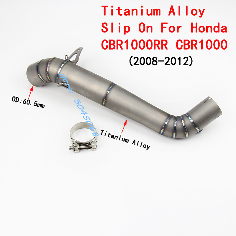 Slip On Modified Motorcycle Exhaust Titanium Alloy Mid Link Pipe For HONDA CBR1000 CBR1000RR Muffler Contact Pipe Withou Exhaust fmf factory 4 1 rct slip on exhaust with titanium mid pipe titanium