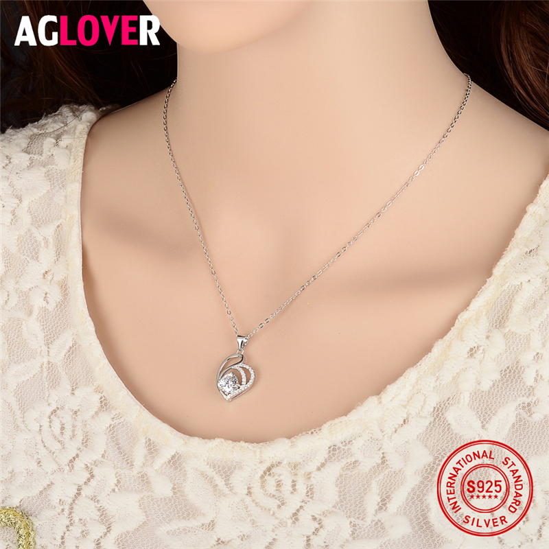Love Necklace 925 Silver Women Charm Heart Pendant Necklace Jewelry High Quality 50cm Silver Chain AAAA 7mm Round Zircon Jewelry in Necklaces from Jewelry Accessories