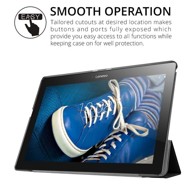 Slim Folding Flip Cover Stand PU Leather Case for Lenovo Tab 2 A10-30 A10-70 A10-70F A10-70L X30F 10.1 inch Tablet Case+Film+Pen 3