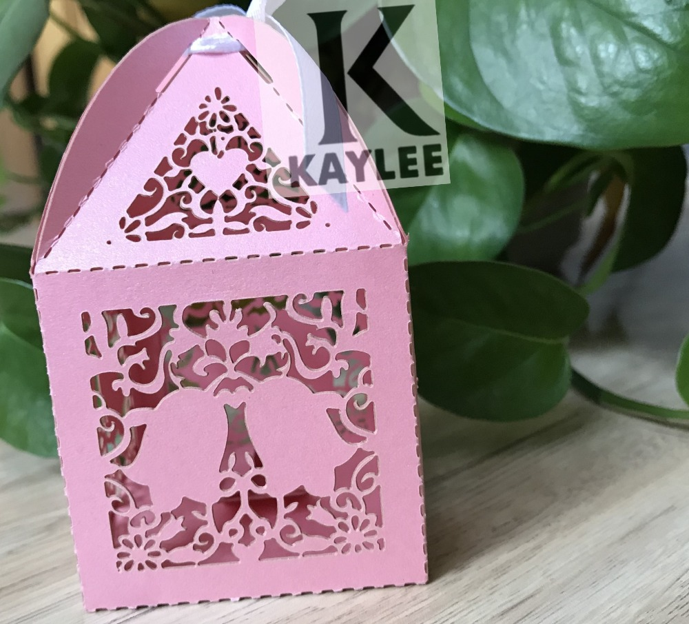 100pcs Laser Cut Bells Design Wedding Favor Box With Ribbon,Small ...