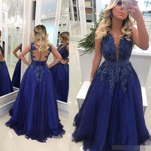 robe de soiree Royal Blue Long Evening Dress 2019 Sheer Neck Lace Appliqued Beaded Pearls Tulle Prom Dresses Sexy Illusion Back