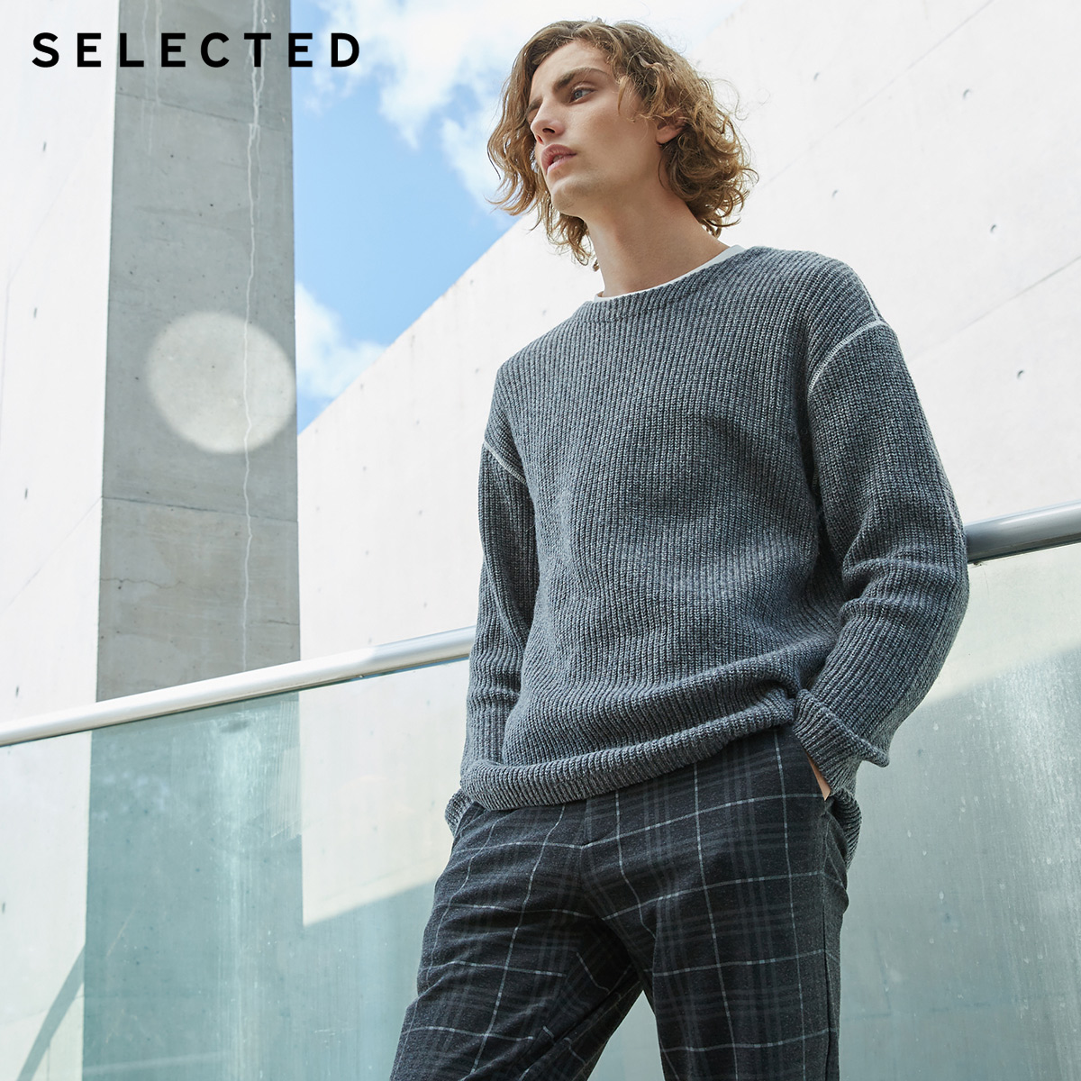 SELECTED Knitted Sweater Autumn Winter Men's Reverse-Stitches Contrasting S-418425530
