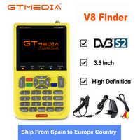 Freesat GTmedia buscador medidor de satélite V8 de HD DVB-S2 SatFinder a Color de 3,5 pulgadas con 3000mA batería V8 de acuerdo de libre comercio se sentó finder