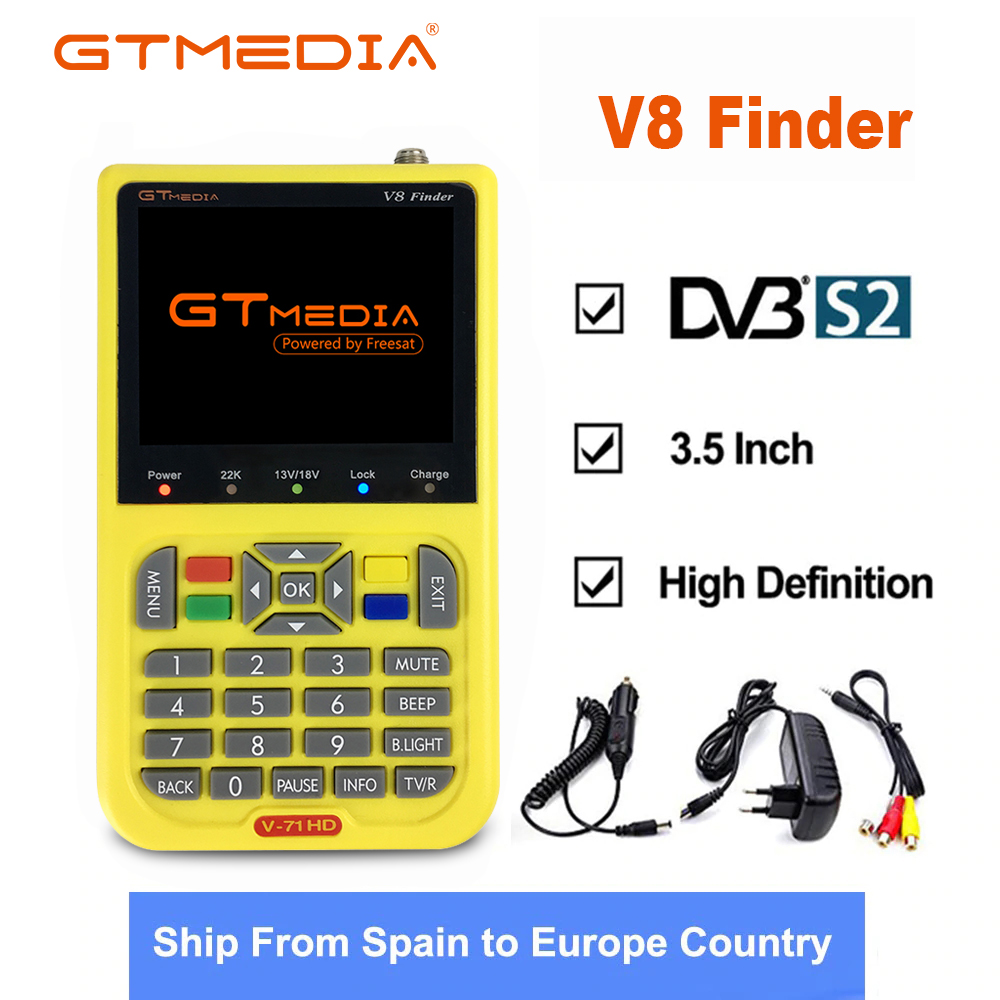 Freesat V8 GTmedia Metros Localizador Via Satélite HD Localizador SatFinder DVB-S2 3.5 polegada Cor com Bateria 3000mA V8 Localizador FTA Sáb localizador