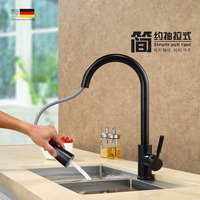 Germany Export Copper Pull Type Kitchen Faucet Hot And Cold Dish Basin Faucet Frosted Black Lead