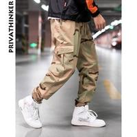 Privathinker Men Camo Cargo Pants Designer 2018 Mens Streetwear Pockets Joggers Pants Male Fashions Hiphop Sweatpants Clothing