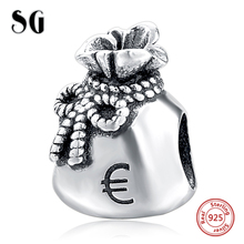 Silver Galaxy Purse with Euro Note Beads For Women Fit pandora Bracelet Charms 925 Original Fashion DIY Jewelry