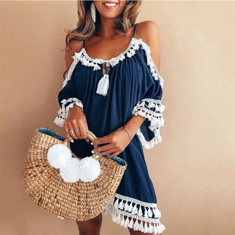 Plus Size 4 5XL Bohemian Dress Women Vestidos Summer Beach Dress Fashion Braces Straps Low Cut 2018 Mini Party Tasseled Dresses