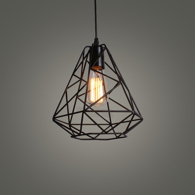 Modern Wrought Iron Bird Cage Pendant Light American Retro Industrial LOFT Bar Hanging Minimalst Geometric 110