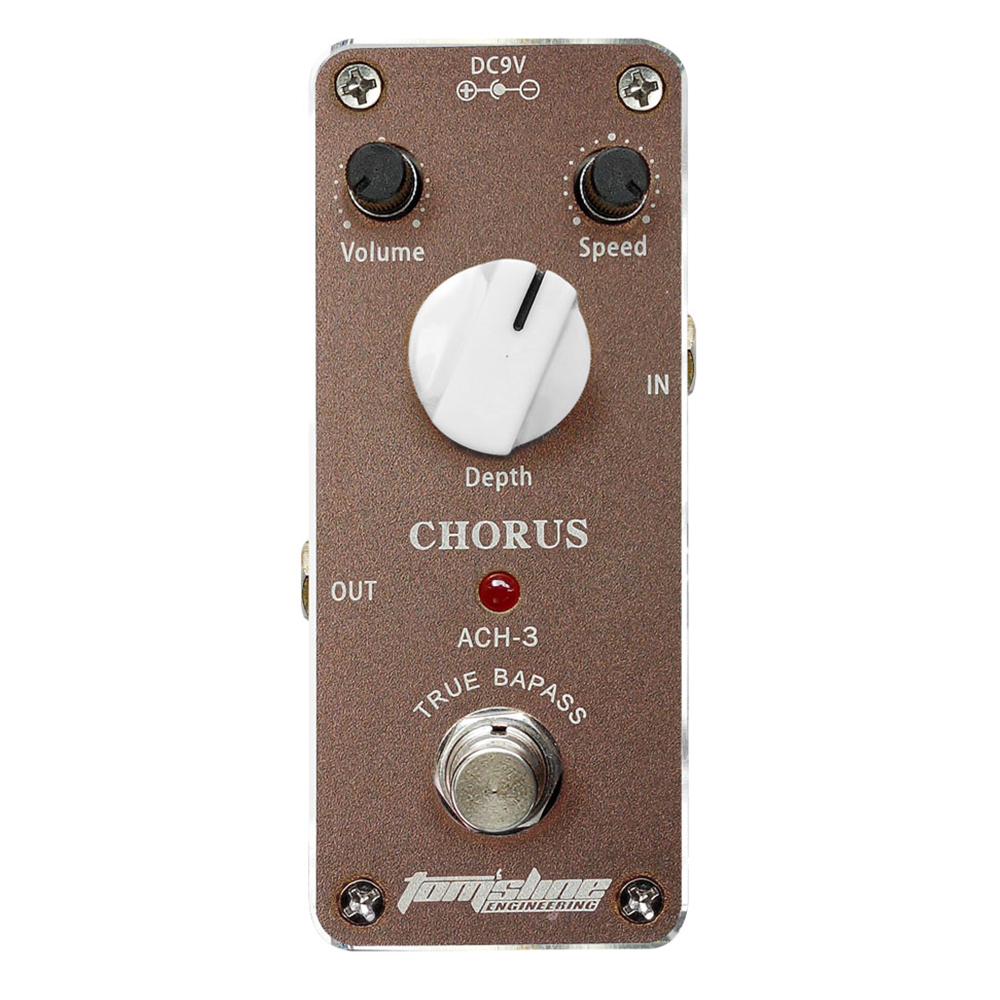 Tomsline ACH-3 Chorus Guitar Effect Pedal Mini Analogue Effect True Bypass ACH 3 AROMA mooer ensemble queen bass chorus effect pedal mini guitar effects true bypass with free connector and footswitch topper