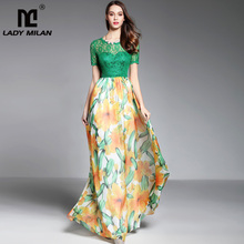 New Arrival 2019 Womens O Neck Short Sleeves Lace Bodice Printed Patchwork Fashion Long Dresses