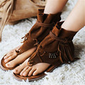 Fashion New Casual Summer Genuine Leather Women Shoes Gladiator Sandals Fringed Slip On Shoes Woman Beach Shoes Flip Flops Flats