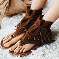 La moda de Nueva Summer Casual Mujeres Del Cuero Genuino Zapatos Gladiador Sandalias Con Flecos Resbalón En Zapatos de Mujer Zapatos De Playa Flip Flops Pisos