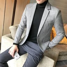 Autumn Blazer Men Collections 2018 British Style Casual Men Blazer Business Slim Fit Woolen Suit Coat Long Sleeve Jackets Men
