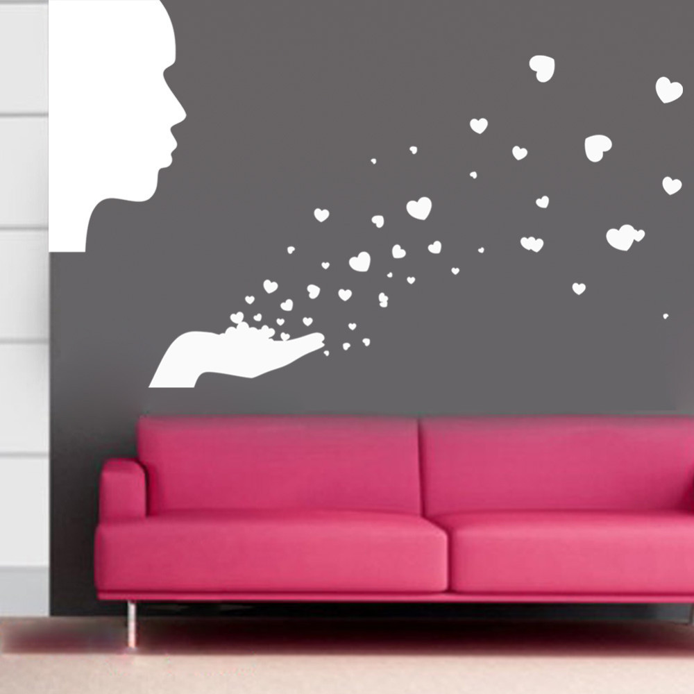 compare prices on lovely baby wallpaper online shopping buy low people blowing hearts wall sticker decal love nursery baby boy girl room wall 3d sticker 83