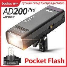 Godox AD200Pro חיצוני פלאש אור 200Ws TTL 2.4G 1/8000 HSS 0.01 1.8s מחזור עם 2900mAh סוללה