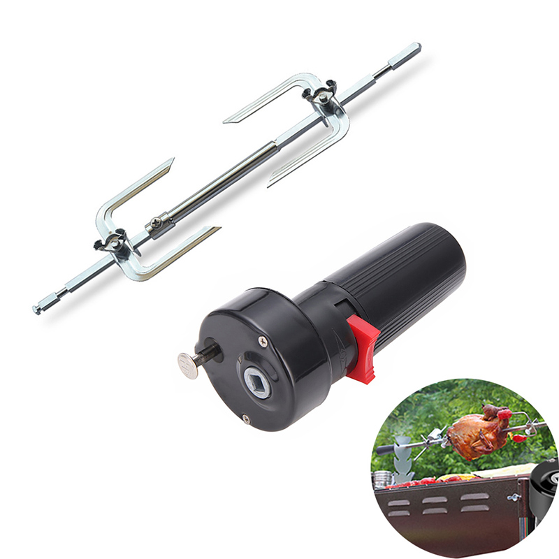 Electric BBQ Motor W/ Roast Branch Metal Outdoor Camping Roasted Beef Forks Turkey Lifters Chicken Roaster Rack Cooking Tool Set
