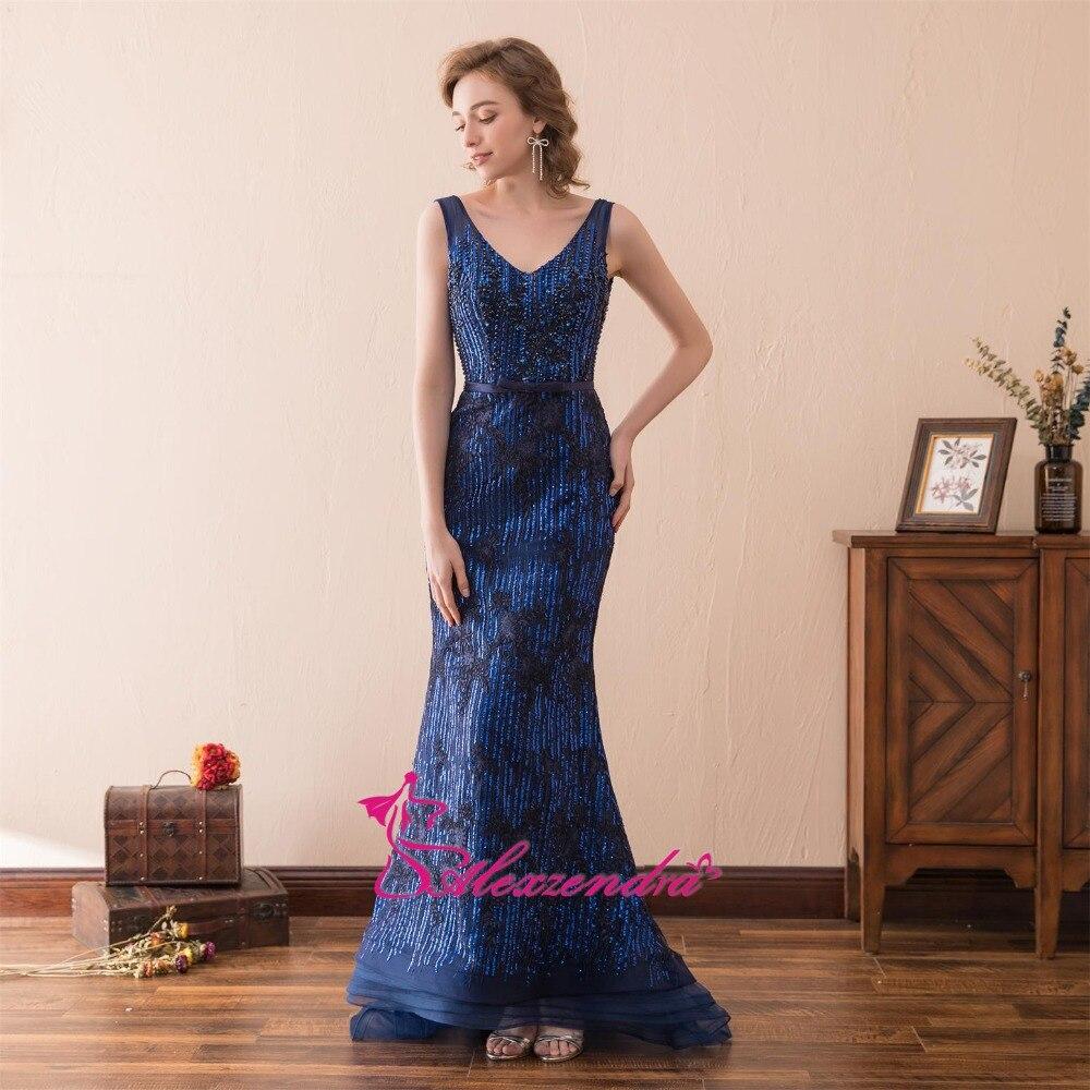 Alexzendra lagerklänning Dubbel V Halsmermaid Blå Prom Klänningar - Särskilda tillfällen klänningar - Foto 2