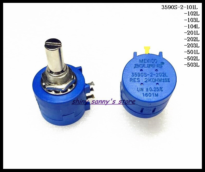 3pcs/Lot <font><b>3590S</b></font>-<font><b>2</b></font>-101L/102L/<font><b>103L</b></font>/104L Precision Multiturn Potentiometer 10 Ring Adjustable Resistor 100,1K,<font><b>10K</b></font>,100K Ohm Brand New image