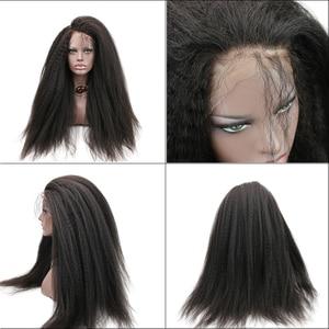 Image 5 - Eseewigs 300 Density Italian Yaki Straight Fake Scalp PU silk base Lace Frontal Wigs Black Women Remy Human Hair wig With Baby
