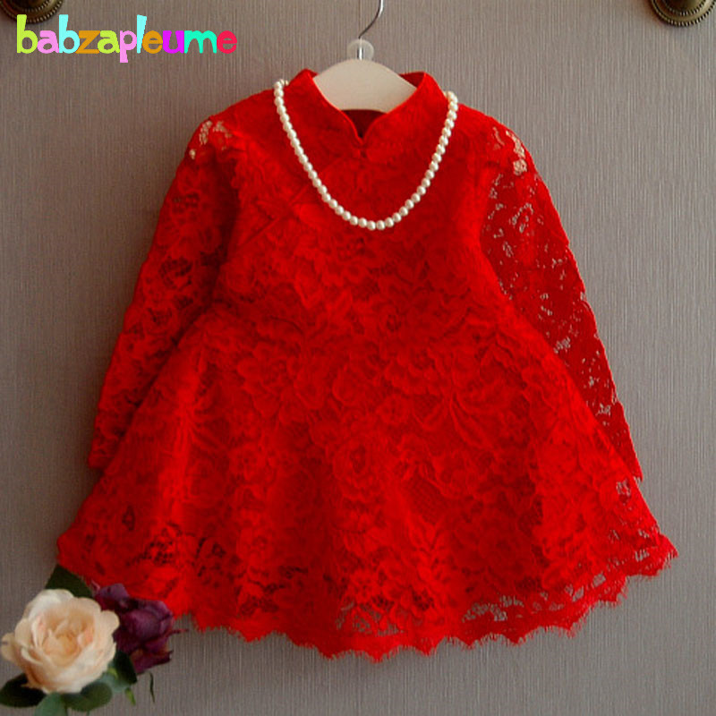 2-6Years/2017 Spring Autumn Kids Clothes Lace Red Baby Girls Dress Long Sleeve Princess Toddler Dresses Children Clothing BC1355 little baby girls dresses summer 2015 customes kids clothes children dress toddler clothing lace red deguisement vetement enfant
