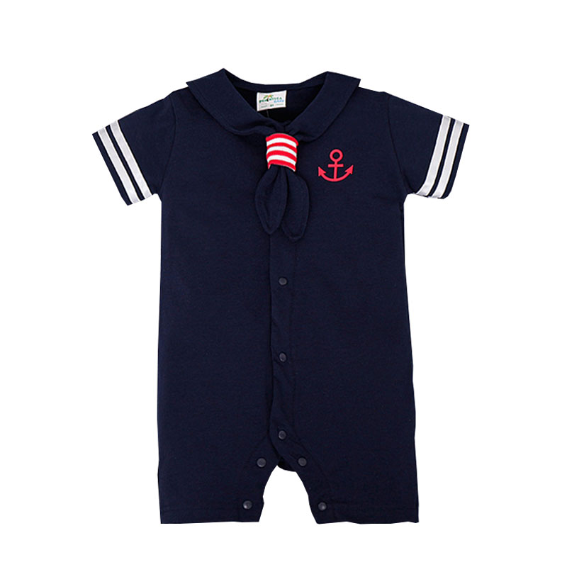 Infant Sailor Suit 2016 Baby Sailor Romper For Baby Boy Clothes Summer Marine Navy White Blue Tie Jumpsuit 3-24M Baby Outfit