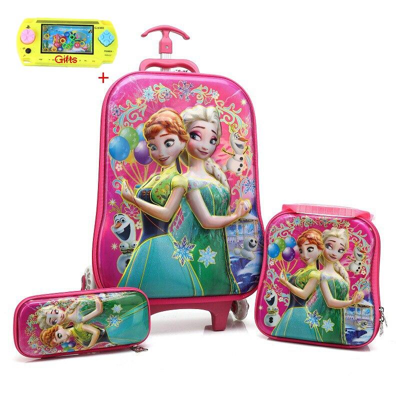 JXSLTC 2018 Children Travel Trolley Bag Student Trolley Case Cute Kids Suitcase Boy Girl Cartoon Bag Pencil Box Children Gift