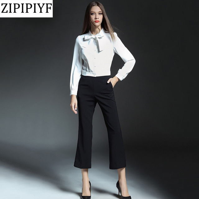2018 Spring Office Lady Outfit Ribbon Bow Tie Beading White Blouse