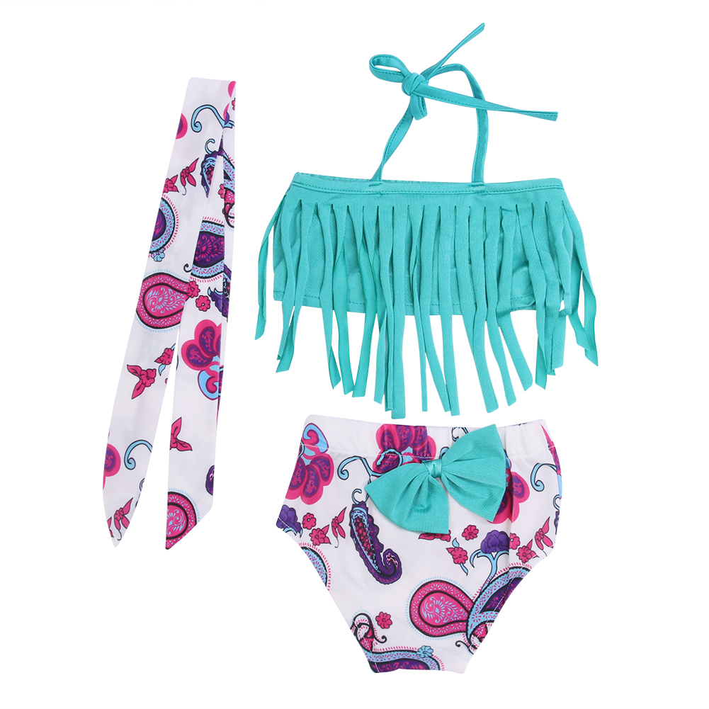 Kids bikini 2018 girls swimwear bathing sets kid swimming suit tassel swimsuit children bikinis baby set new biquini infantil funfeliz flamingo swimsuit for girls 2 8 years one piece girls swimwear cute unicorn kids swimming suit children bathing suits