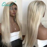 Бразильский шелковистые прямые Волосы remy Синтетические волосы на кружеве парики Ombre 4 #/60 # блондинка Цвет 150% 180% 200% Плотность 13x4 натуральные в