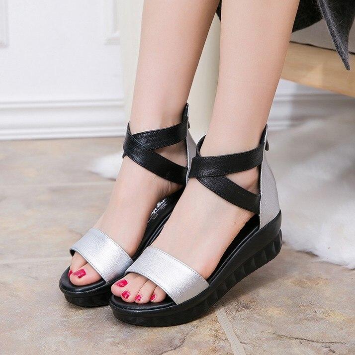 Pour D'été Casual Diapositives Pantoufles Sandales Confort Flip Flops Mère Noir Taille Véritable Chaussures Cuir 25 61 Femmes Femme OExAw4qfA