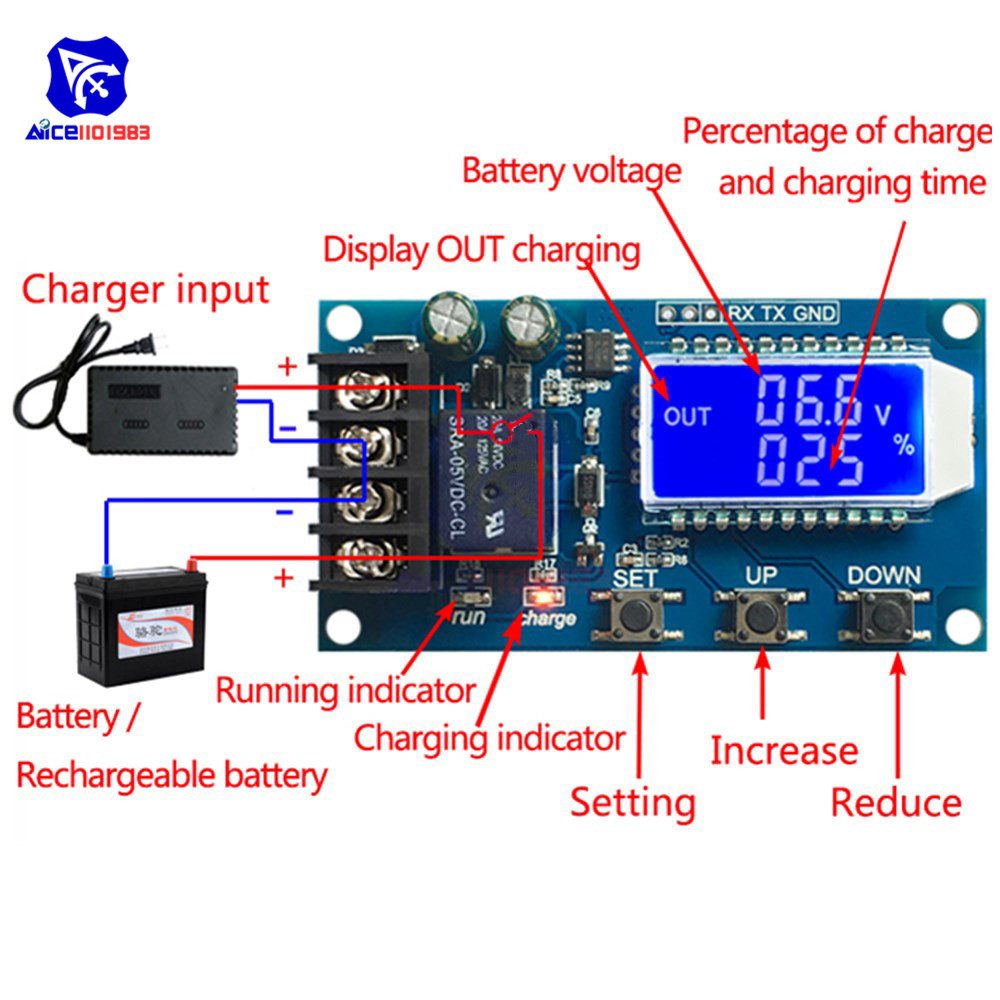 Lithium Battery Charge Controller Protection Board Auto Charging/Cycle Charge/Limited Time Charge Switch Relay LCD Display 6-60V