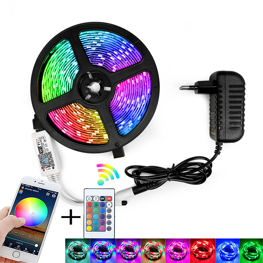 RGB LED Strip Light SMD 2835 5M Waterproof RGB Tape DC12V Ribbon diode led Strips Light Flexible Stripe Lamp IR WIFI Controller 1
