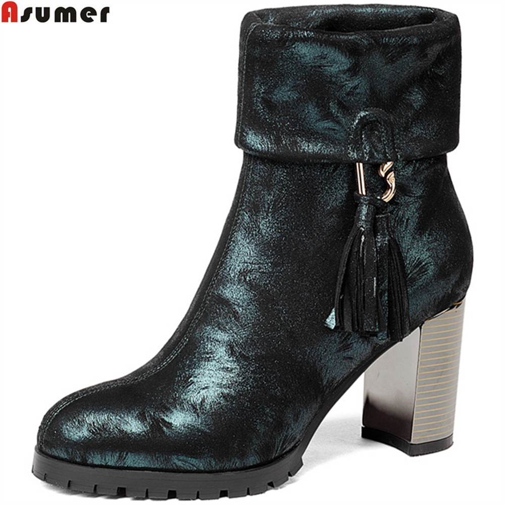 ASUMER 2018 fashion autumn winter new arrive women boots round toe kid suede ladies boots square heel black Blackish green asumer 2018 fashion apring autumn new