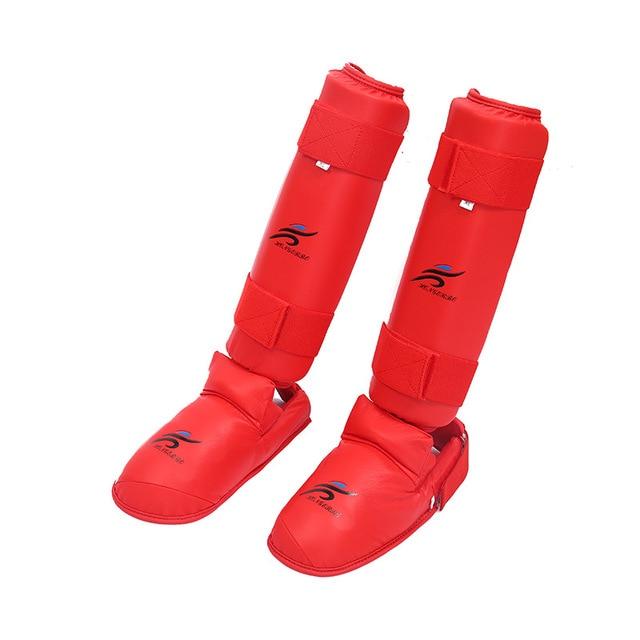 Merah Biru Karate Legging Shin Guard Tinju Sanda Shin Pelindung Kickboxing Melindungi Punggung Kaki Pertempuran Pelatihan Pergelangan Kaki Penjaga