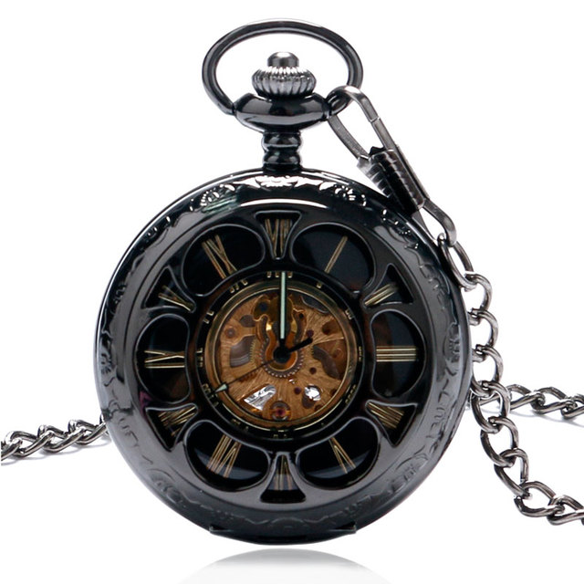 Free Shipping Mechacnial Hand Wind Pocket Watch Hollow Skeleton Black Flowers De