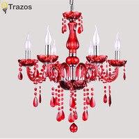 Бесплатная доставка Красный хрустальная люстра 6 Arms Роскошный Кристалл свет мода люстра crystal light современный люстры