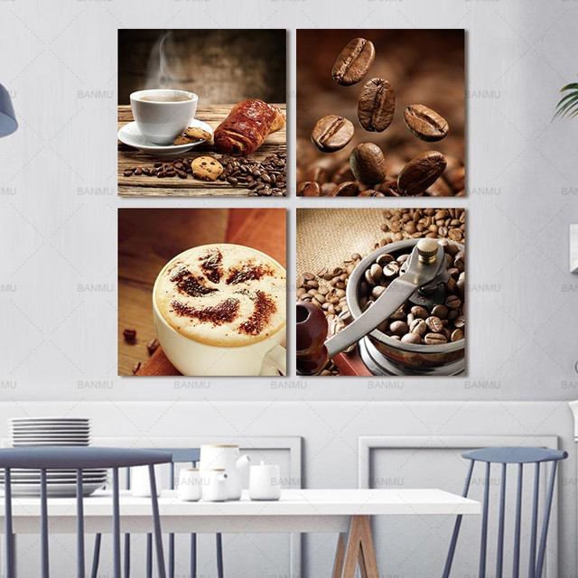 4pcs Coffee Canvas Painting Poster Print On Wall Hd