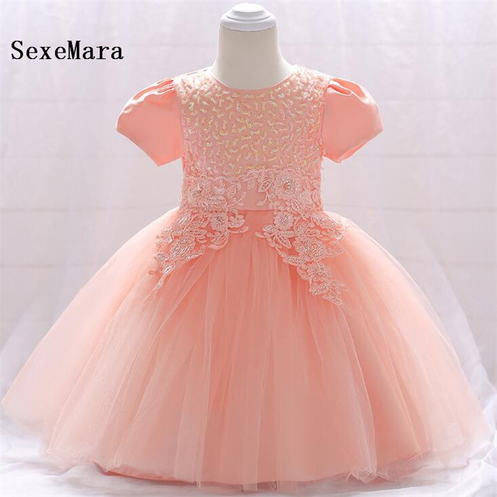 Infant Baptism flower Girl Dresses Baby Dress Party Lace Applique Princess Baby Girl Wedding 1 Year Birthday Dress Real Photo