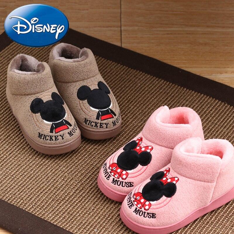 2019 New Disney Kids Home Slippers Girl Boy Cotton Slippers Cartoon Warm Shoes Minnie Mickey Plush Winter Non-slip Indoor Baby