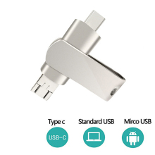 3in1 USB C Flash Drive 64GB for Android Phones(Both Micro/ Type-C)Flash Computer Smartphone Micro Memory Dual - Silver