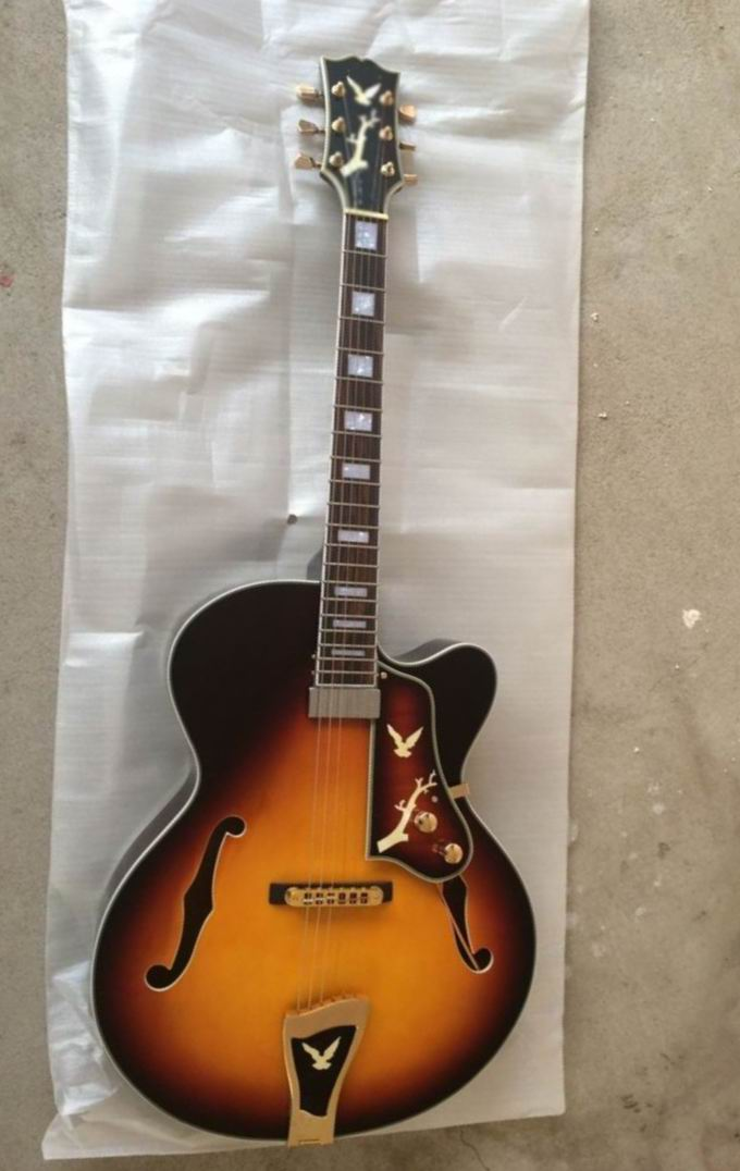 Wholesale Jazz Guitar ES-175 ES175 Semi Hollow electric guitar w/Flower logo/pickguard/tail  in SUNBURST ES 175 140910 wholeslale dave grohl dg335 es 335 6 string electric guitar with great logo es 335 in white 100913