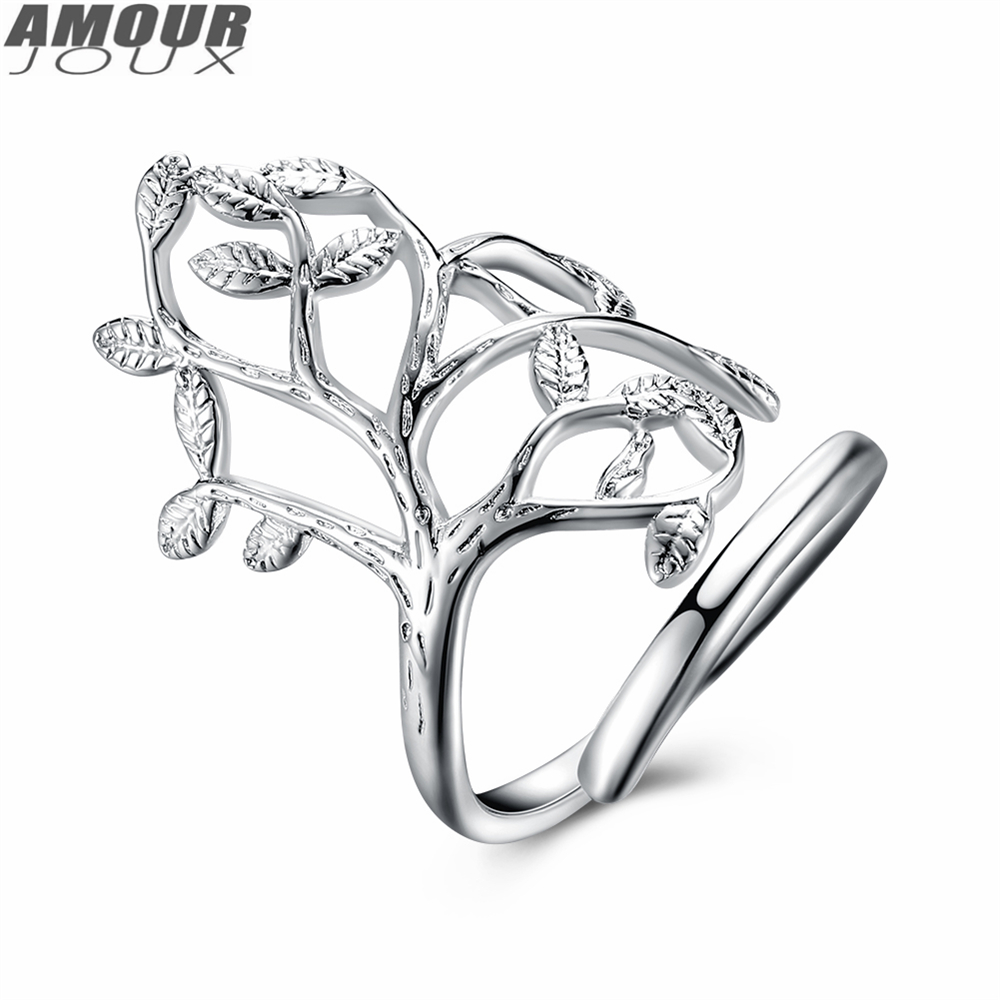 AMOURJOUX Fashion Silver Color Hollow Tree Rings For Women Female Engagement Wedding Bands Resizable Ring anel