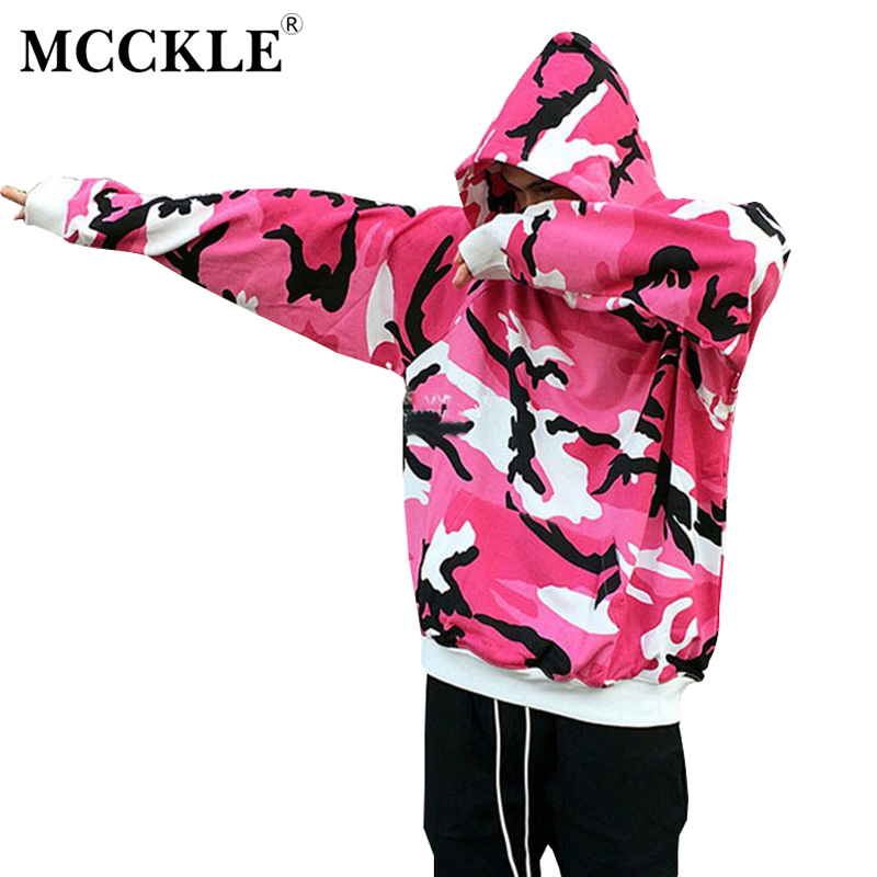 MCCKLE 2018 Spring Men High Street Tactical Camouflage Hood Pullover Men Women HipHop Streetwear Casual unisex oversize Hoodies ...