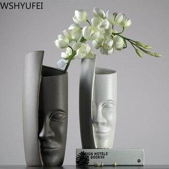 Modern minimalist Nordic creative face ceramic vase Flower arrangement hydroponic plant Living room home decoration WSHYUFEI