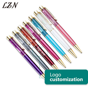 LZN Free Customlized Text/Logo with Crystal Foil Ballpoint Pen Colourful Special Pens School Business Stationary as Special Gift