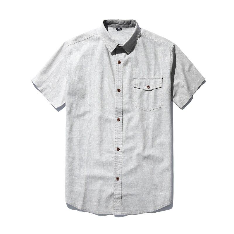 Livraison gratuite chemise en lin grande taille XXXL 4xl 6xl 7xl décontracté style été hommes militaires slim fit chemises à manches courtes