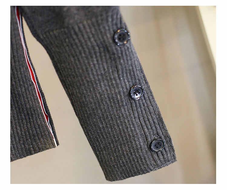 3 striscia di colore Delle Donne Ha Lavorato A Maglia Cardigan Cappotto di Autunno Inverno Casual Con Scollo A V Manica Lunga Crochet Del Knit Cappotto Del Maglione Femminile Magliette e camicette